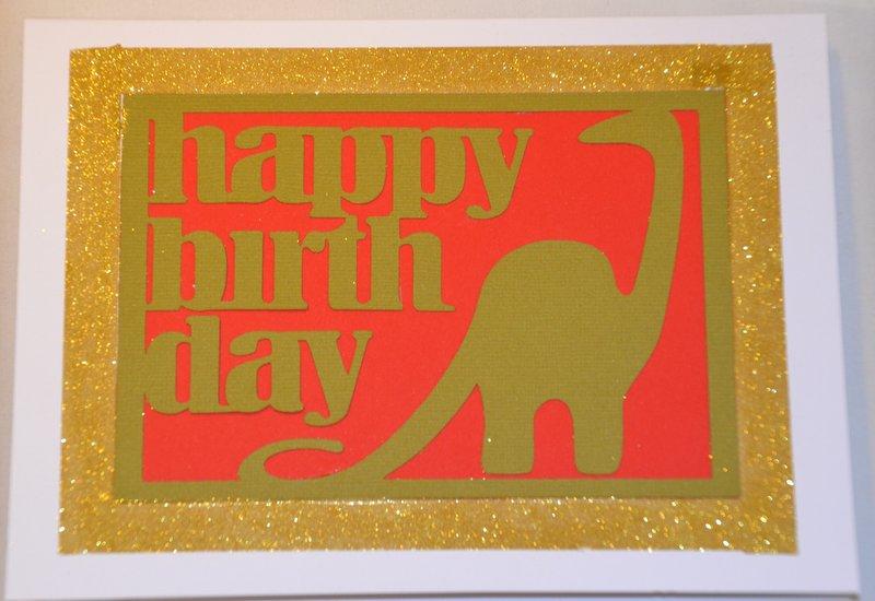 כרטיס ברכה מעוצב ליום הולדת - דינוזאור